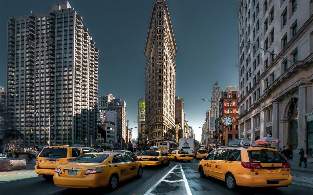 Taxibilar vid Flatiron Building