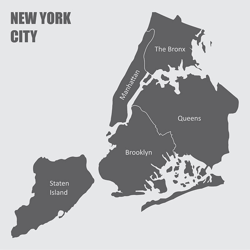 Stadsdelar och invånare i New York